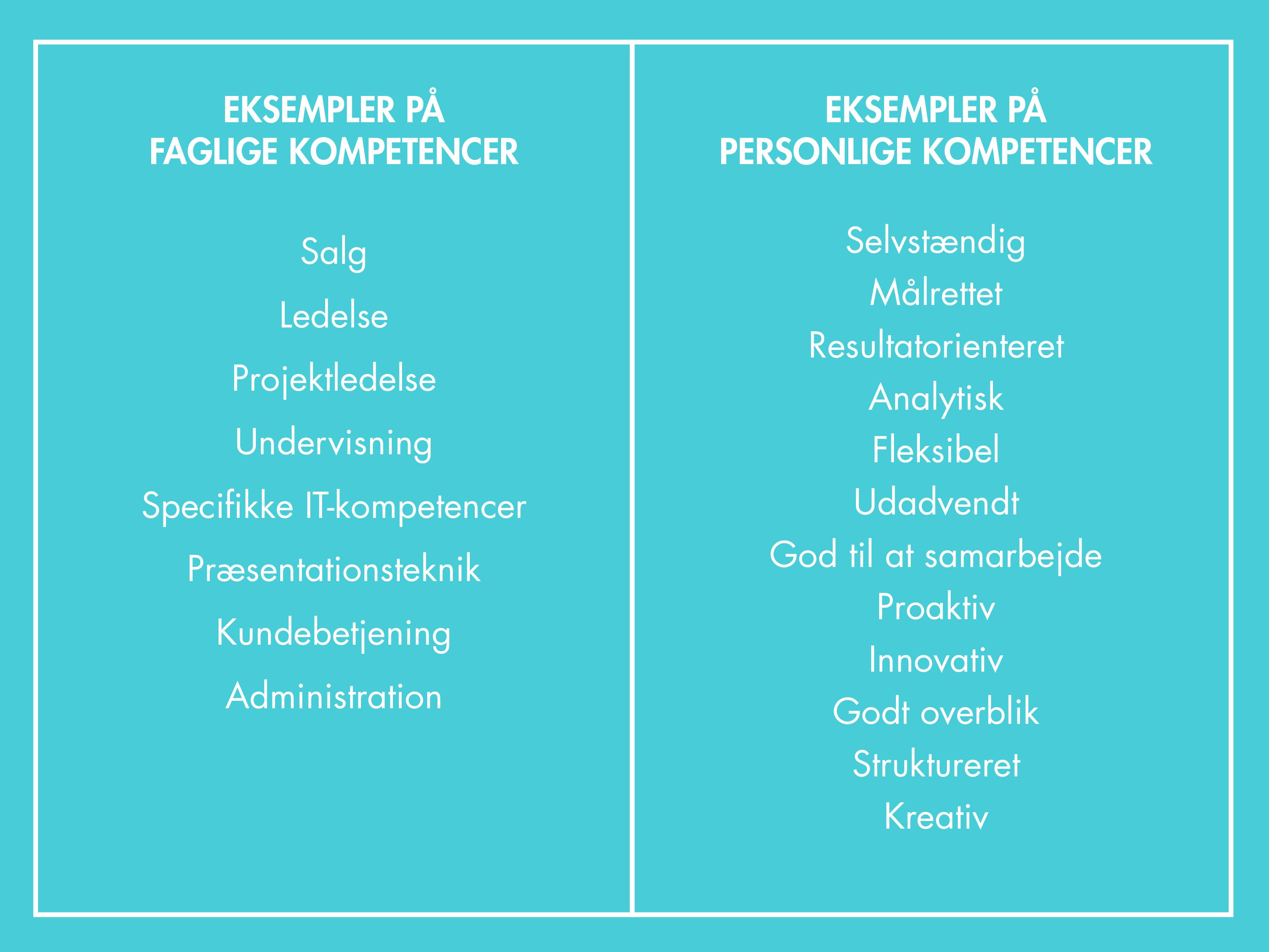Faglige kompetencer og personlige kompetencer