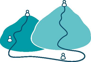 Bjerge med mennesker